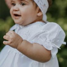 Vestido renda renascença infantil branco  - 1 ano
