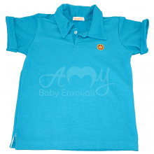 Camiseta polo manga curta azul - 4 anos