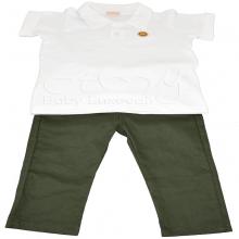 Conjunto calça brim verde e camiseta polo branca 1 ano