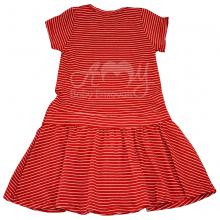 Vestido em malha listra vermelha - 2 anos