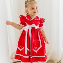 Vestido bordado á mão vermelho Talita - 18 meses