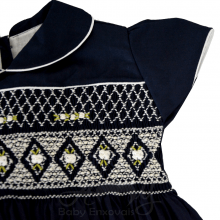 Vestido casinha de abelha azul marinho em ponto smock loli - 1 ano