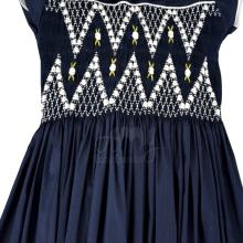 Vestido casinha de abelha azul marinho ponto smock Ísis - 3 anos