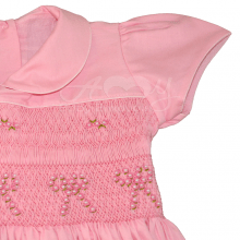 Vestido casinha de abelha em ponto smock laço rosa - 2 anos