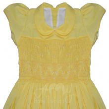 Vestido casinha de abelha ponto smock amarelo - 2 anos