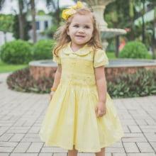 Vestido casinha de abelha ponto smock amarelo vasinho floral - 2 anos