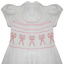 Vestido casinha de abelha ponto smock branco laço rosa - 2 anos