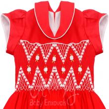 Vestido casinha de abelha vermelho em ponto smock rosa branca - 3 anos