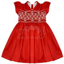 Vestido casinha de abelha vermelho ponto smock  roses - 1ano