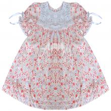 Vestido renda renascença infantil flora laranja - 1 ano