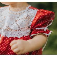 Vestido renda renascença infantil poá vermelho - 1 ano