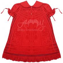 Vestido renda renascença infantil vermelho - 2 anos