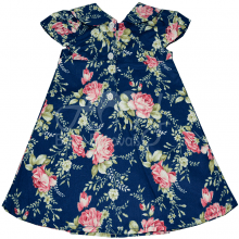 Vestido infantil chanel floral laço azul - 9 meses