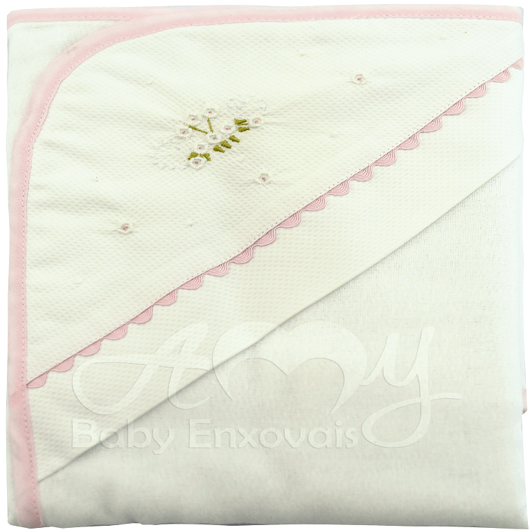 Toalha fralda com capuz bordada bela floral