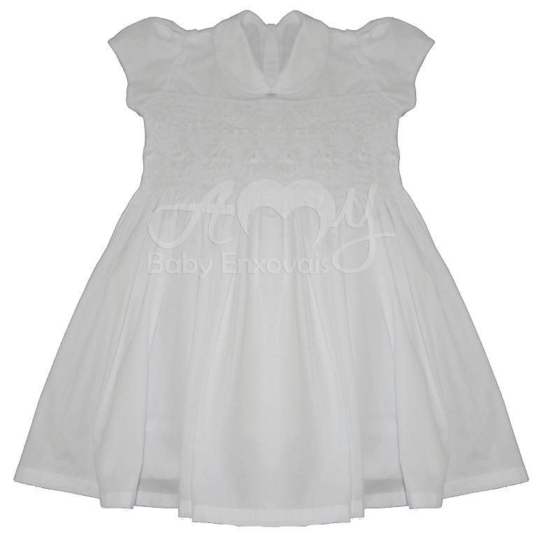 Vestido casinha de abelha ponto smock branco flower - 2 anos