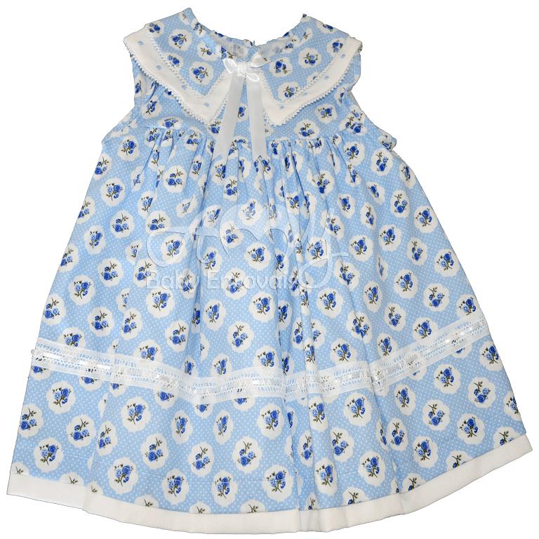 Vestido renda renascença floral azul - 1 ano