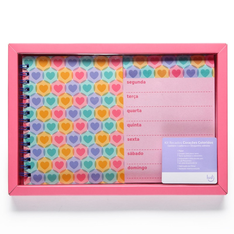 Corações Coloridos - Kit Recados