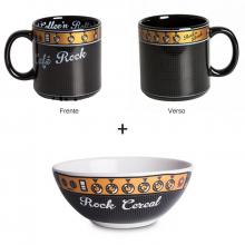Café Rock e Rock Cereal - Kit Caneca + Bowl