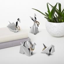 Pássaro Origami - Porta Anel Cromado