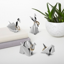 Coelho Origami - Porta Anel Cromado