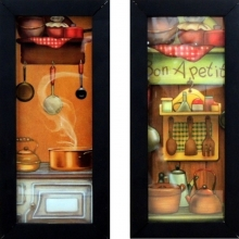 Bon Apetit - Kit com Dois Quadrinhos com Vidro