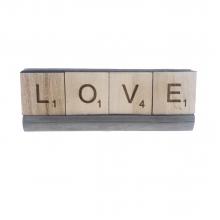 LOVE - Letras Decorativas em Madeira e Base em Concreto