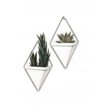 Trigg - Conjunto com 2 vasinhos de parede Branco/Prata