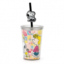 Snoopy Comics - Mini Copo com Canudo