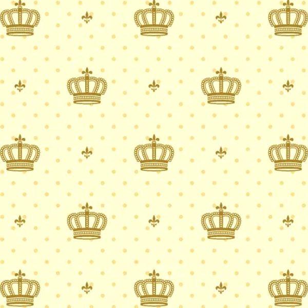 Tricoline Estampado Coroas Dourada S1123-3 • Tecido Tricoline Estampado