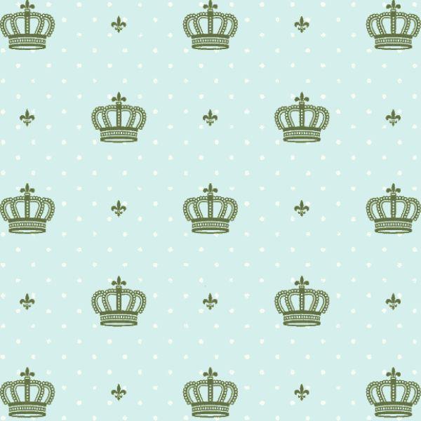 Tricoline Estampado Coroas Verde S1123-4 • Tecido Tricoline Estampado