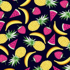 Tecido Tricoline Frutas DX6359-4 - Abacaxi, Banana, Melancia e Morango