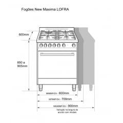 FOGÃO GAS 5 QUEIMADORES 90X60 FORNO ELETRICO INOX 220V MAXIMA LOFRA