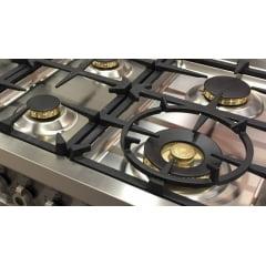 Fogão Professional 6 Queimadores 119,5cm 2 Fornos Grill de Mesa Inox Bertazzoni