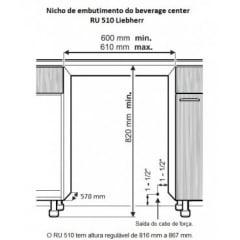 Frigobar de Embutir 114 latas de 350ml Aço Inox Liebherr 127 V