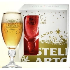 Kit com2 Taças Stella Artois Festa Dourada 330ml
