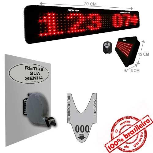 Painel Eletrônico de Senha e Guichê Digital SG-748-K 70X15 cm C/ Exibição de Mensagens e Controle Sem Fio Sequencial  + Kit TiraSenha para Parede