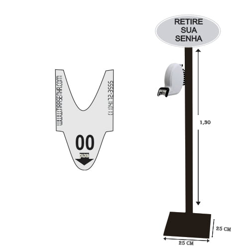Dispensador de Senhas Completo c/ Suporte Pedestal de Chão, Placa Retire sua Senha BRANCO