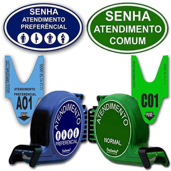 Kit Tirasenha de Parede Atendimento Preferencial e Comum azul e verde