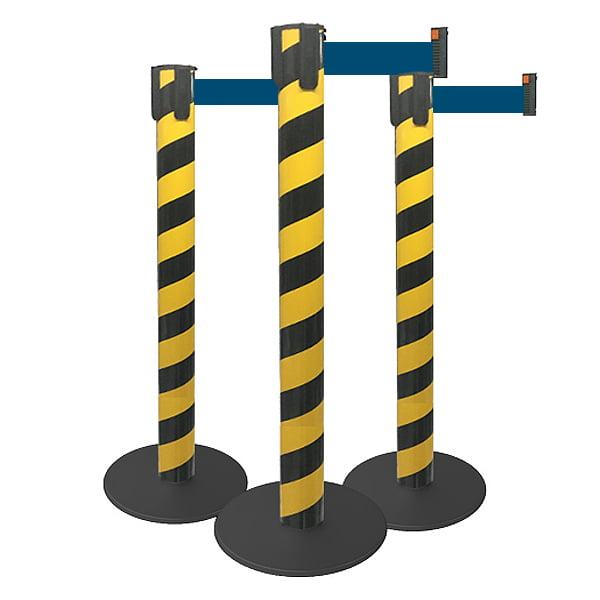 * Pedestal Organizador, Demarcador, Divisor Modelo Neon Zebrado Preto / Amarelo Fita Personalizada (cx. 3 unid.)