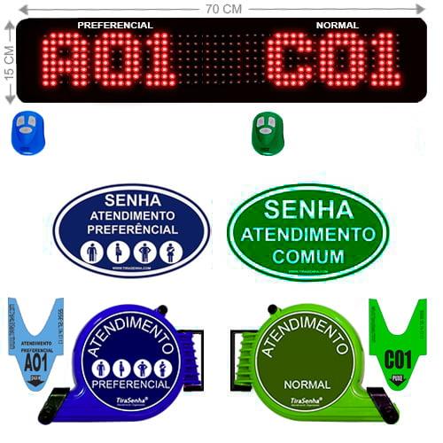PAINEL DE SENHA SD-748 K 70X15 CM SEM FIO SEQUENCIAL C/ EXIBIÇÃO DE MENSAGENS + KIT TIRASENHA DE PAREDE ATENDIMENTO PREFERENCIAL E COMUM