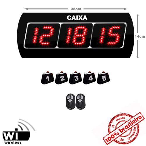 Painel Eletrônico Digital S-625-GC 38X14 cm Chama RETAGUARDA com Controle Sem Fio + Kit Chamadores para CAIXAS