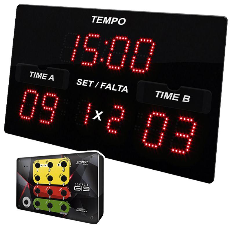 PLACAR POLIESPORTIVO DIGITAL LEDTIME X3  42X25 CM CM COM CONTROLE G13 SEM FIO