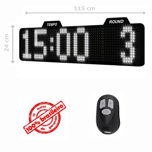 PAINEL LEDTIME XL 1464 - CRONÔMETRO HORA / MINUTO / ROUND - 115X24 CM COM CONTROLE