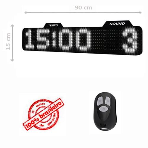 PAINEL LEDTIME XL  764 - CRONÔMETRO HORA / MINUTO / ROUND - 90X15 CM COM CONTROLE