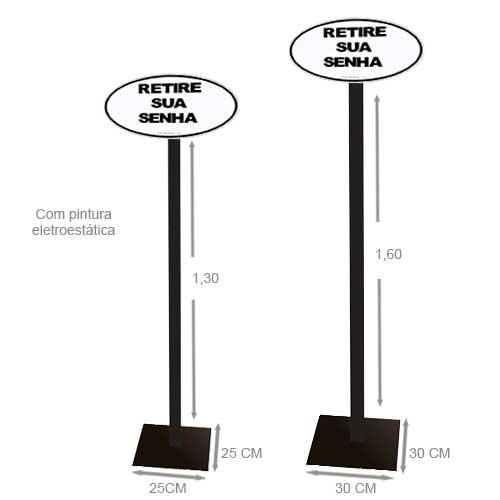 TiraSenha.com :: Suporte Pedestal de Chão com Placa Acrílica Retire sua Senha Branca
