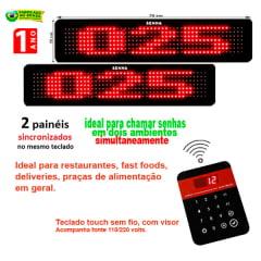 Painel Eletrônico de Senha Digital SA-748-D 70x15 cm Espelhado C/ Exibição de Mensagens e com Teclado sem Fio para Senhas Alternadas Indicado para Lanchonetes, Restaurantes e Fast Food