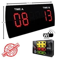 PLACAR ESPORTIVO DIGITAL LEDTIME LT-625 TIME A X TIME B 38X14 CM COM CONTROLE SEM FIO G13