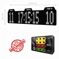PAINEL LEDTIME XL 1464 - PLACAR ESPORTIVO TIME A / TIME B / HORA / MINUTO / SEGUNDO 115X24 CM COM CONTROLE G13