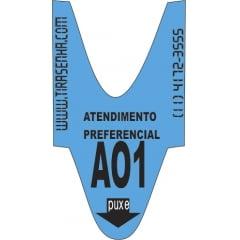 Rolo / Bobina de senha ALFA NUMERICA 2 dígitos de A01 a A99 com 2000 senhas Cor: AZUL PREFERENCIAL