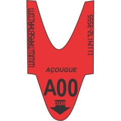 Rolo / Bobina de senha ALFA NUMÉRICA 2 dígitos de A00 a A99 com 2000 senhas Cor: VERMELHA AÇOUGUE